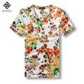 2016 Homens Verão de Manga Curta Floral T Camisas ocasionais da Forma Dos Homens Slim Fit Tamanho Grande Decote Em V T Shirts Tees Camisa Masculino homens