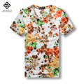 2016 Men Summer Short Sleeved Floral T Shirts Men's Casual Fashion Slim Fit Large Size V Neck T Shirts Tees Camisa Masculino Men