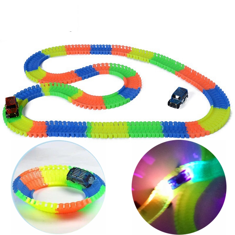 56-220pcs Glowing Race Tracks Flexible Railroad Bend Flex Railway Flash in the Dark DIY Assembly Kids Toy with LED Car