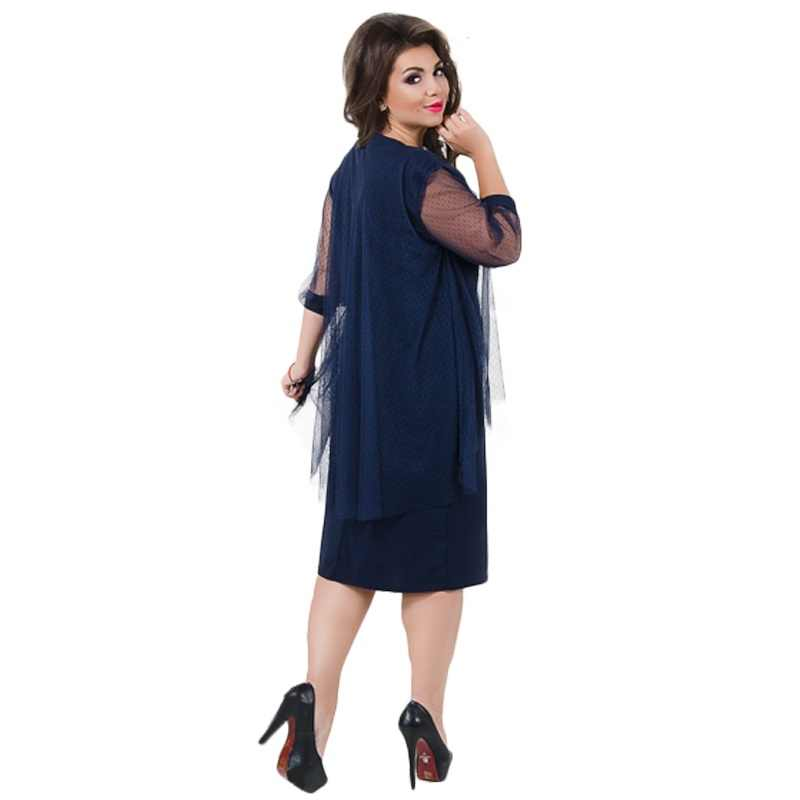 ... 2019 Summer Dress Plus Size Women Dress Elegant Mesh Office Dress Large  Size Sheer Party Dress ... 1da925f95417