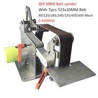 Мини настольный ленточный шлифовальный станок DIY Металл полировальный станок дерево ручной шлифовальный станок 533x30 мм об./мин. 600./Y