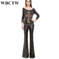 Pantalon Large Femme Sexy High Waist XXS 7XL Plus Size PU Leather Flare Pants Black Slim