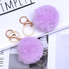 SUKI Lovely Fluffy Faux Fur Ball Key Chain Pompom Artificial Fur Keychain Women Car Bag Charms Pendant Key Rings(China)