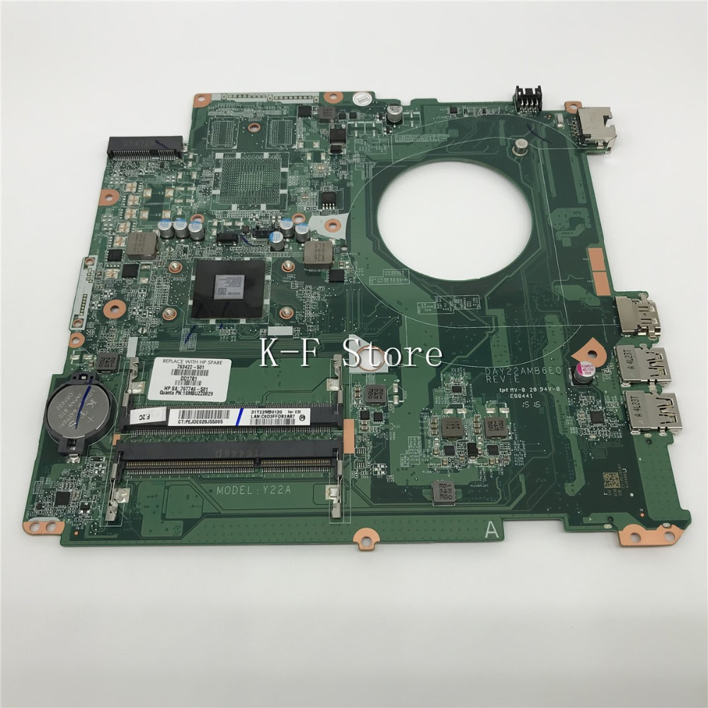 KaiFull 763422-501 763422-001 For HP PAVILION 17Z-F000 For HP Pavilion 17-F Laptop Motherboard DAY22AMB6E0 REV:E A8-6410 Y22A