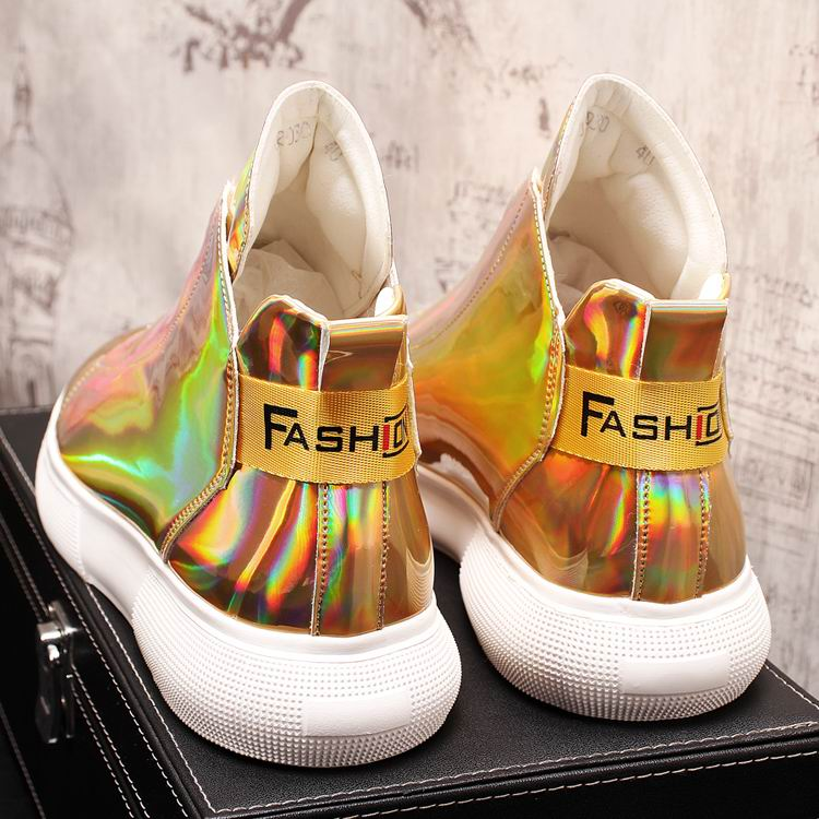 ERRFC Luxury Men's Gold Leisure Shoes Fashion Designer High Top Zip Man Casual Comfort Shoes For Show White Vogue Party Shoes 43 11