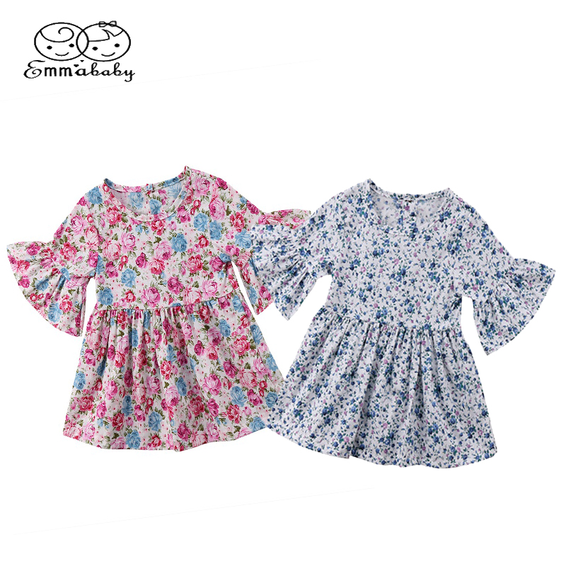 Emmababy Cute Toddler Baby Girl Kids Princess Flare Sleeve Dresses Floral Tunic Party Tutu Dress Outfit Casual Sundress