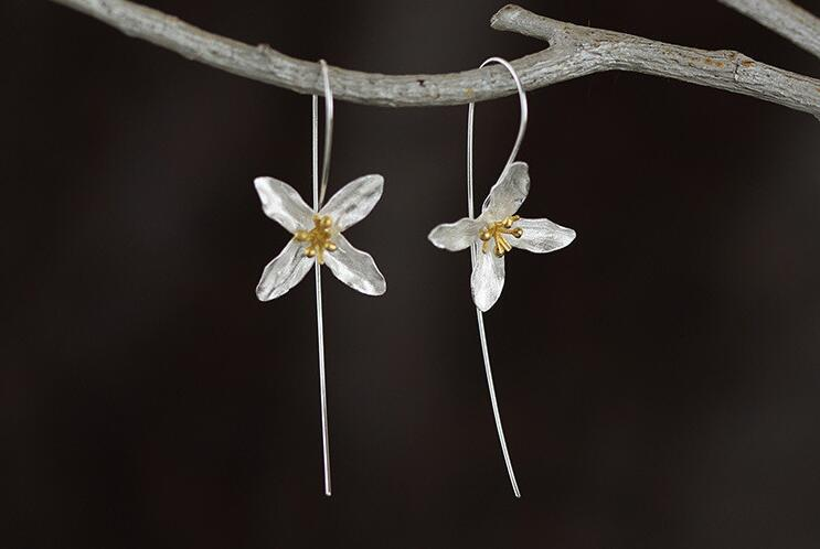 Shuangshuo New Hot Silver plated Flowers Earrings for Women Elegant Long Earings Girl Gift Brincos