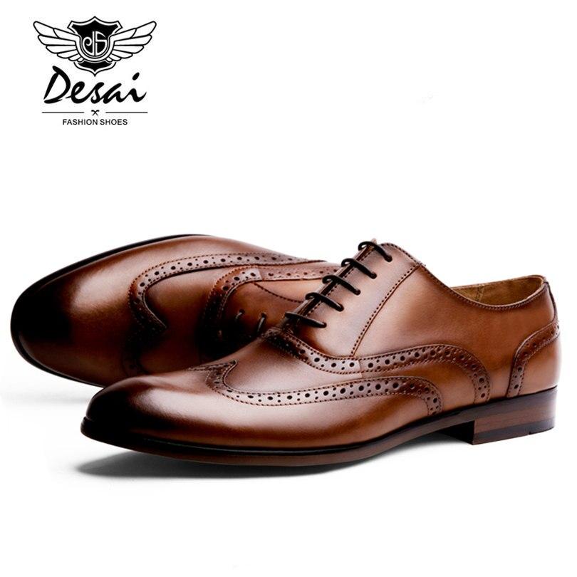 DESAI/Брендовые мужские туфли оксфорды из кожи с натуральным лицевым покрытием; Мужские модельные туфли в британском ретро стиле с перфорацие... - 4