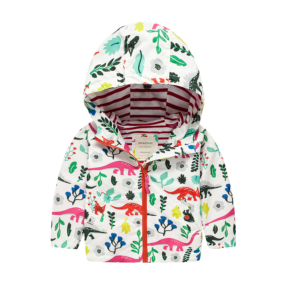 M06 Spring Autumn Fashion Cartoon Dinosaur Thin Coat Child Thin Padded Lining Jacket Hoodies Keep Warm Girls Coat Tops Outwear