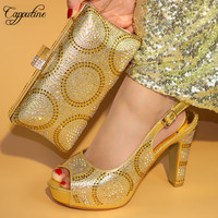 Capputine Gold Color With Rhinestone Italian Shoes With Matching Bag Set Fashion Elegant Woman Pumps Shoes And Bag Set Stock