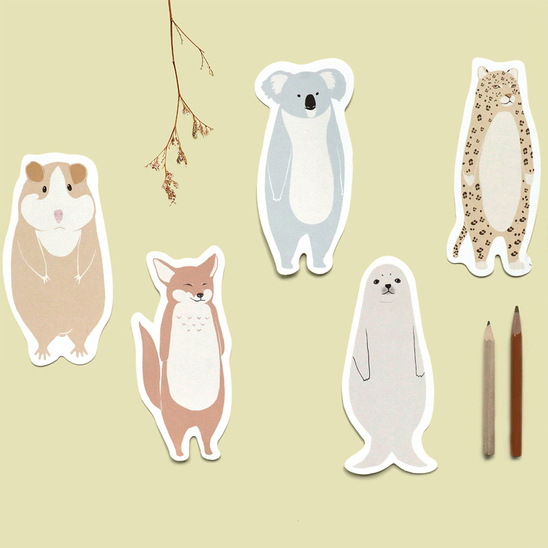 30pcs/lot Kawaii Standing Animals Design Postcards Standing Fox Bear Message Note Paper Bookmark Photo Props Creative Stationery