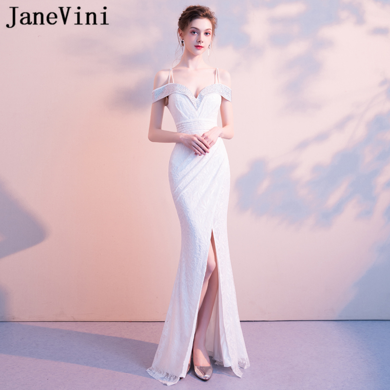 JaneVini 2018 White Lace Beads Long Bridesmaid Dresses Spaghetti Straps Sexy High Split Backless Mermaid Formal Party Prom Gowns