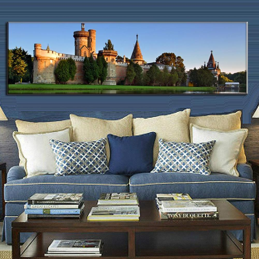 Super Große Landschaft Einzelbild Europa Immobilien Malerei Wohnkultur Wohnzimmer Dekoration Das Schloss Malerei Kalligraphie