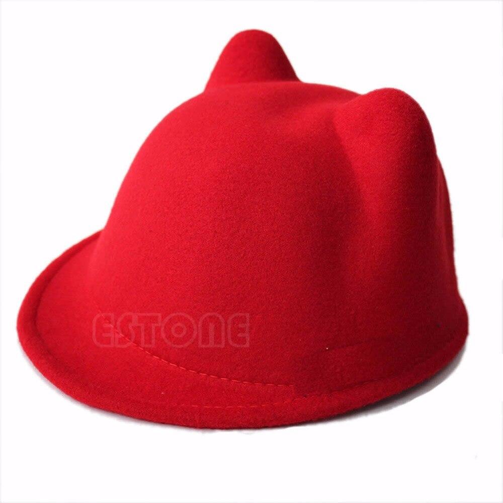 54568450198 Cute Winter Cat Ear Wool Felt Fedora Hat Girl Boy Kid Children Derby Bowler  Cap-in Hats   Caps from Mother   Kids on Aliexpress.com