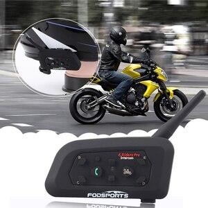 Image 3 - 2pcs Fodsports V6 Pro del Casco Del Motociclo Citofono Senza Fili BT auricolare bluetooth intercomunicador 1200M 6 Giro