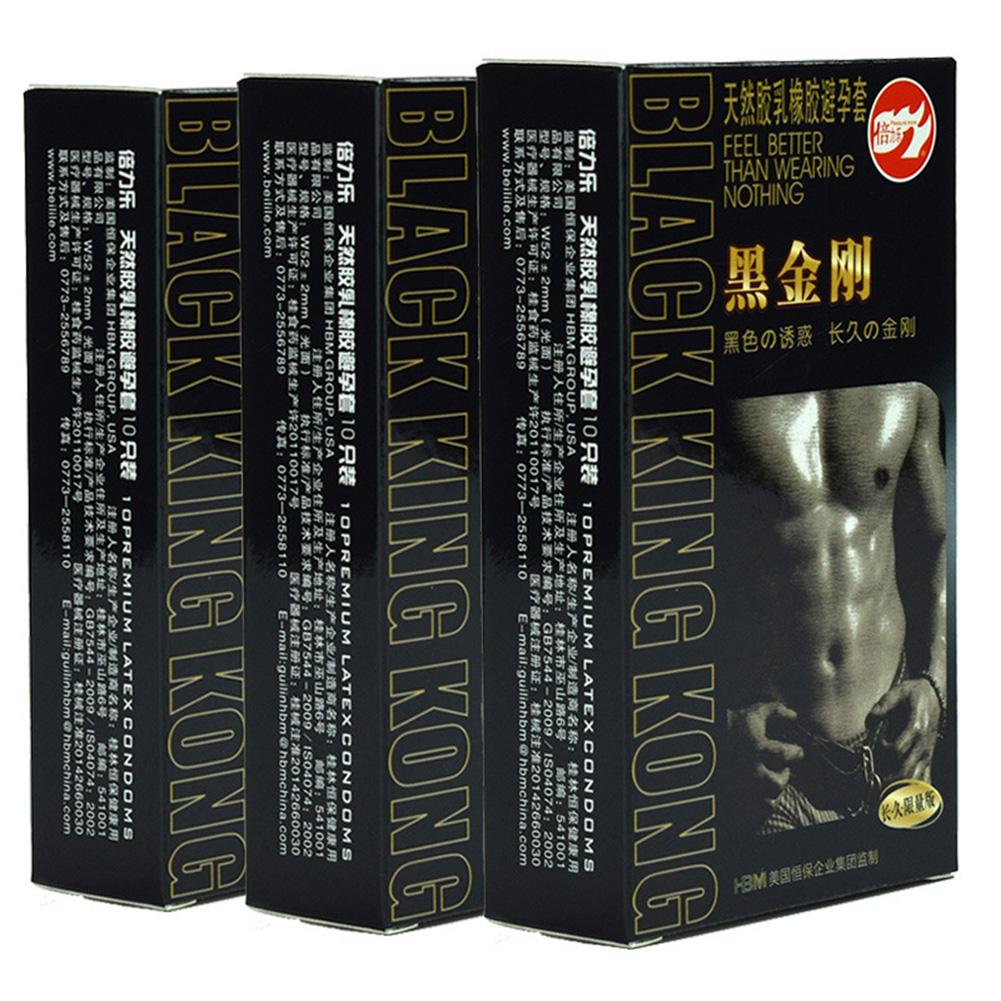 Buy 10Pcs Black Natural Latex Ultra Thin Long-lasting Lubricated Condom Safe Contraception