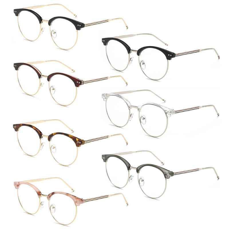 Vintage Round Women Eyeglasses Metal Frame Spectacles Glasses Transparent Frame.
