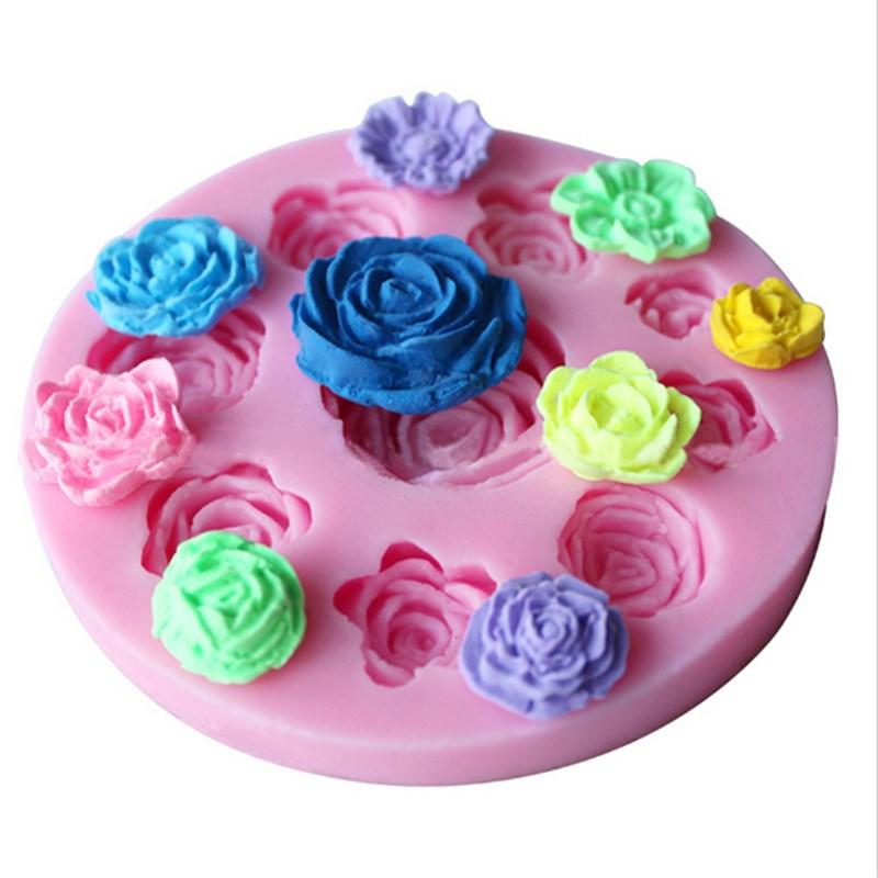 molde de la torta d rose flower sugarcraft fondant de silicona molde del jabn de caramelo de chocolate de decorac