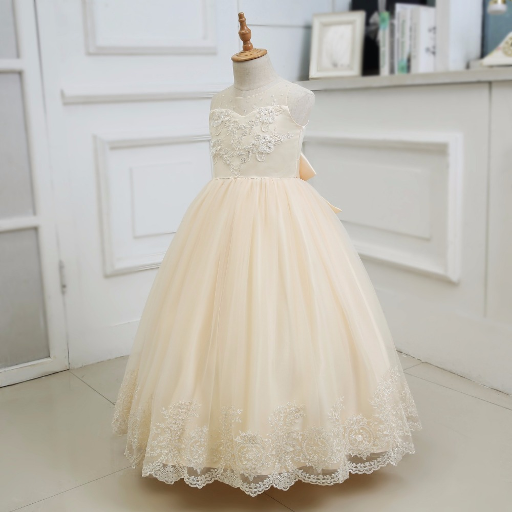 Elegant Champagne Tulle Beading Lace Long Flower Girls Dresses For Wedding Sequins  Bow Sash First Communion Prom Party Gowns