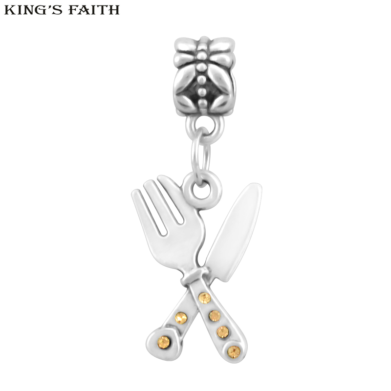 KINGS FAITH Fashion Cutlery Knife And Fork Charms Pendants Fit Pandora Bead Charm Bracelets DIY Jewelry Making,SPP195