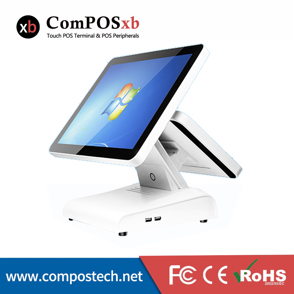Complete Restaurant Cheap Dual Screen POS System Machine With 15 Inch Resistive Touch Screen terminal for