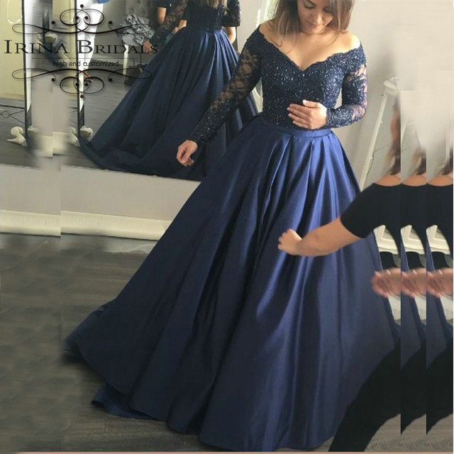 5818c512930 robe mariee Low Cut Deep V-Neck Lace Appliqued Long Sleeve Shiny Dark Blue  Wedding Dress