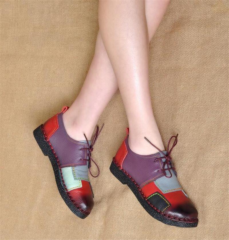 Handmade Fashion Women's Genuine Soft Leather Shoes