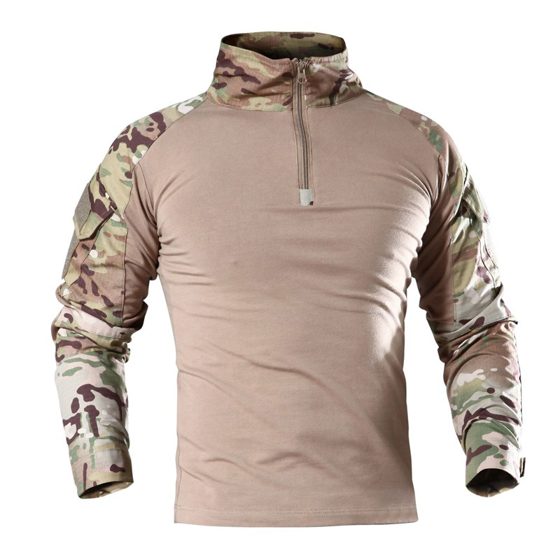 US Army Military Uniform Combat Shirt Men Assault Tactical Camouflage T Shirt Airsoft Paintball Long Sleeve Shirts()