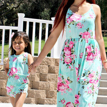Family Matching Outfits Summer Fashion Floral Printing Sleeveless Dress Outfits Mother and Daughter Overalls Baby Girl Clothes