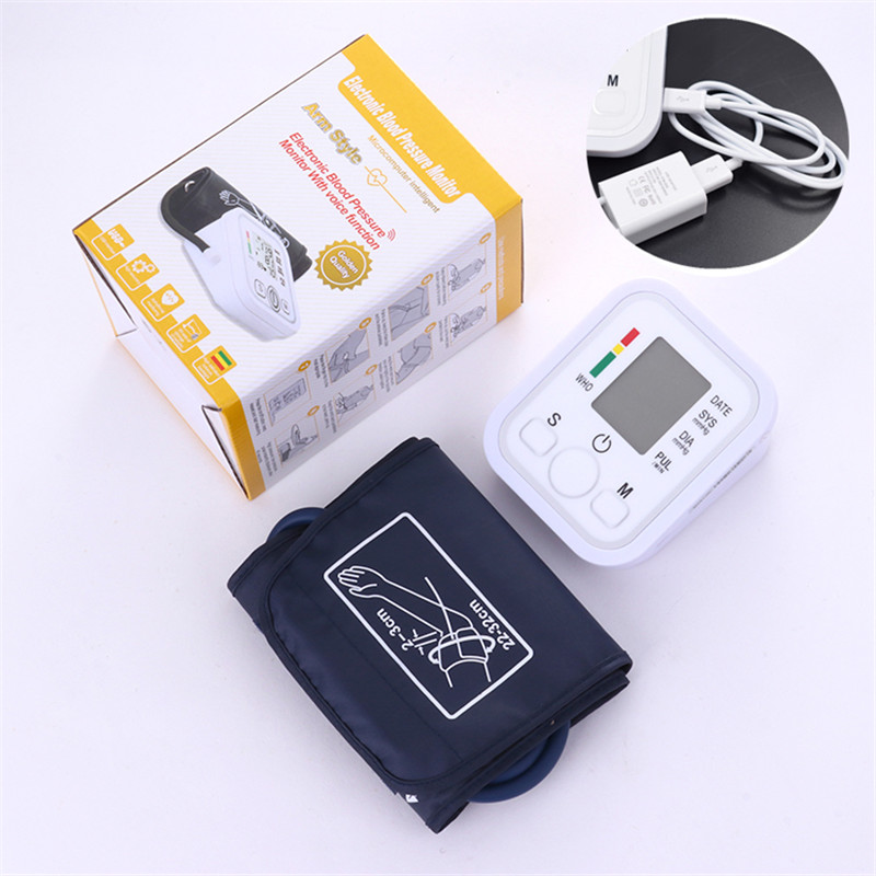 1pcs Digital Lcd Upper Arm Blood Pressure Monitor Heart Beat Meter Machine Tonometer for Measuring Automatic Home Health Care