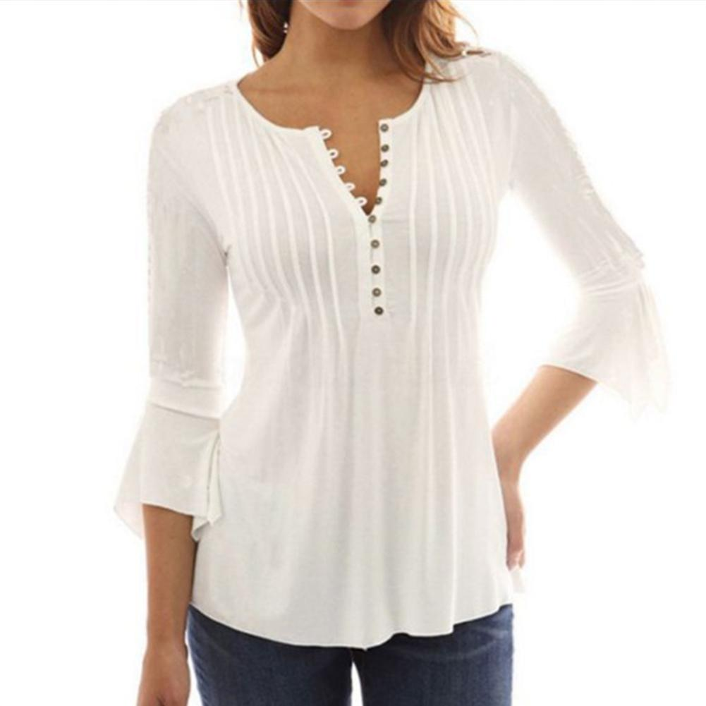 2019 New Yfashion Women Large Size Horn Sleeve Design Pleated T shirt Top Selling in T Shirts from Women 39 s Clothing