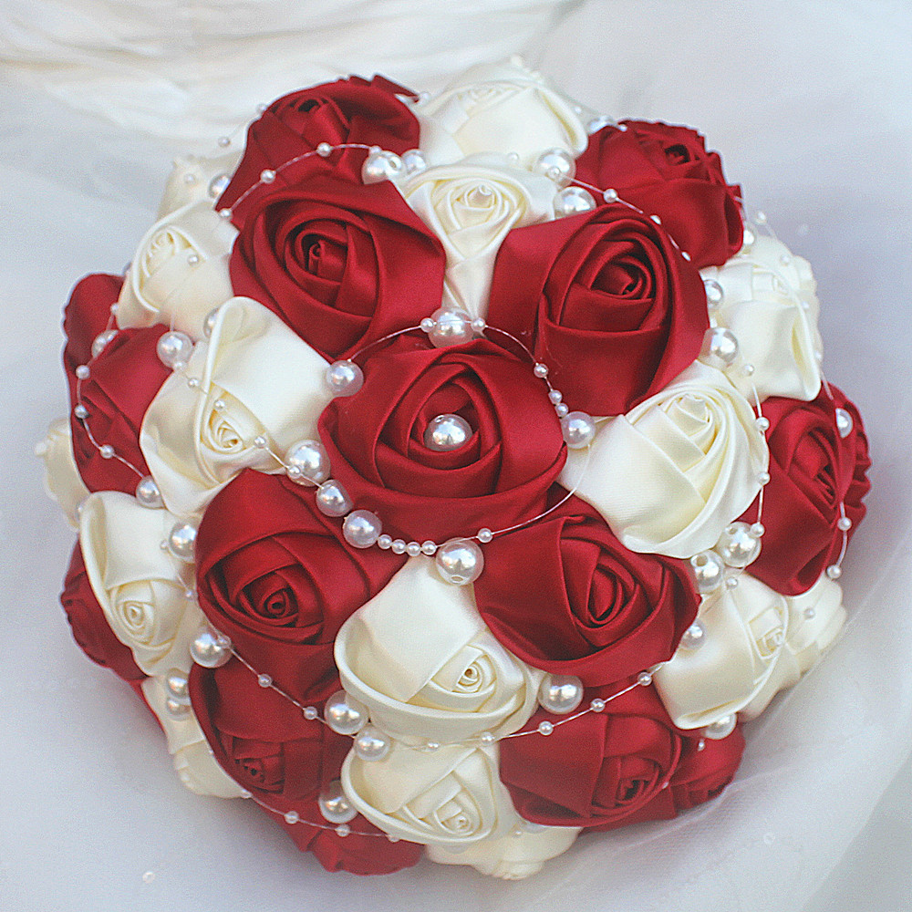 Hot Sale Ivory White And Red Brooch Bouquet Wedding Bouquet De