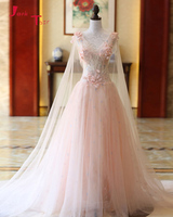Jark Tozr V neck Lace Up Tulle Shawl Bridal Gowns Beading Pearls Flowers Light Pink A line Wedding Dresses 2018 Robe De Mariee