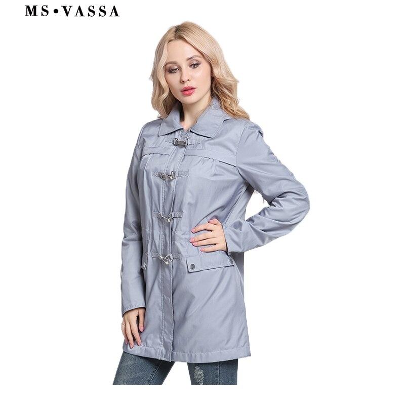 MS VASSA ชุดเดรสผู้หญิงเสื้อ 2018 ฤดูใบไม้ผลิใหม่ Lades trench หัวเข็มขัดจัดแต่งทรงผมที่ถอดออกได้ turn   down collar plus ขนาด 3XL ขนาด outerwear-ใน โค้ทยาว จาก เสื้อผ้าสตรี บน   1