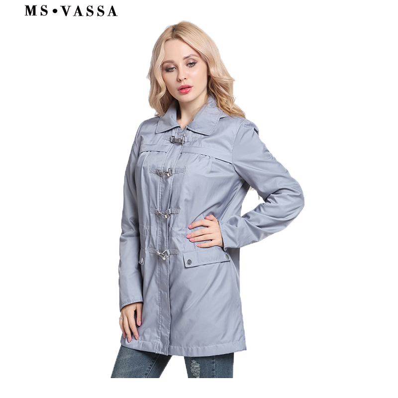MS VASSA Women coats 2018 New Spring Lades   trench   buckle styling detachable hood turn-down collar plus size 3XL size outerwear