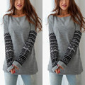 2016 Women Long Sleeve Knitwear Sweater Patchwork  New O-neck Casual Sweater