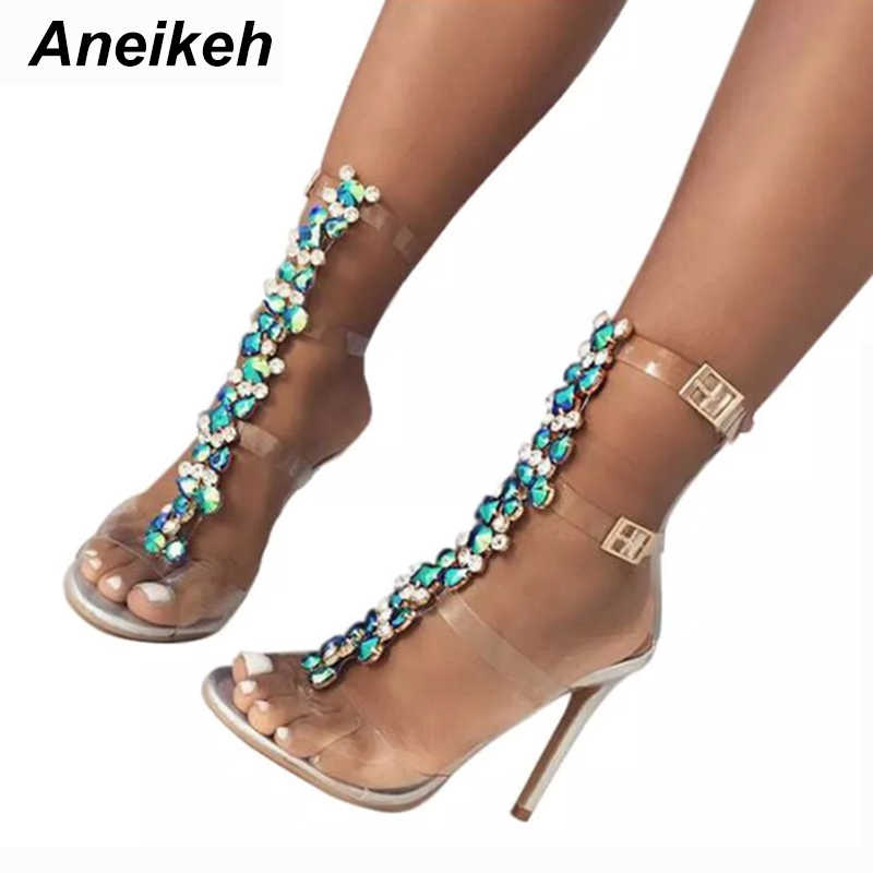 Aneikeh New Summer sandals women Buckle Strap Luxurious Blue Crystal Chain Transparent PVC High Heel OpenToe Sexy Sandals Shoes