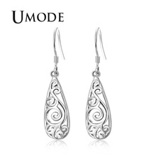 UMODE Fashion Bohemia Hollow Water Drop Drop Earring for Women White Gold Wave Hook Jewelry Boucle D'Oreille 2018 Bijoux AUE0416 цена