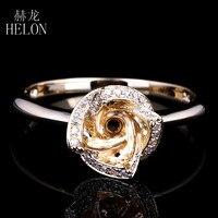 Helon 6ミリメートルラウンド固体10 kイエローゴールドsemi mount細かいダイヤモンドリングフラワー婚約ウェディングリングjewelrywomenの新しいデザイン