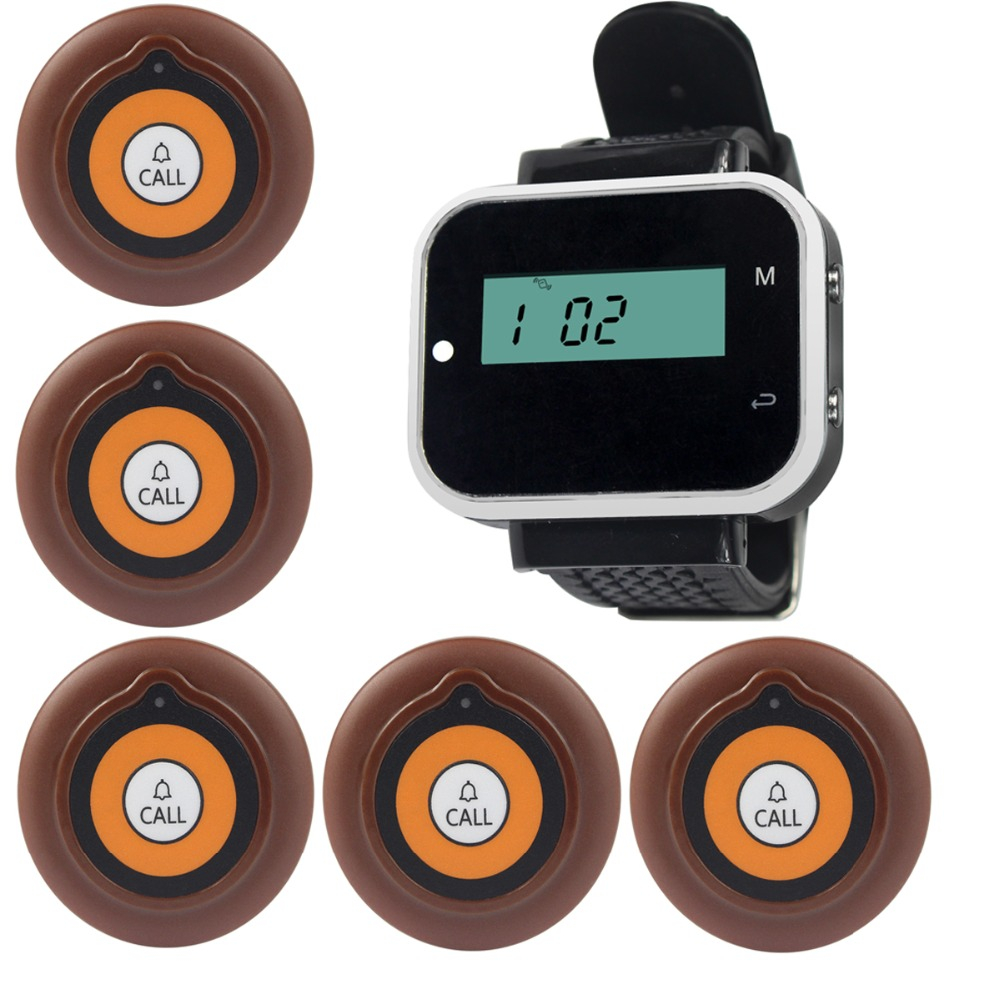 5pcs Call Button Pager+1 Watch Receiver Wireless Pager Calling System Restaurant Waiter Calling System F3229A one set wireless system waiter caller bell service 1 watch wrist pager with 5pcs table customer button ce passed