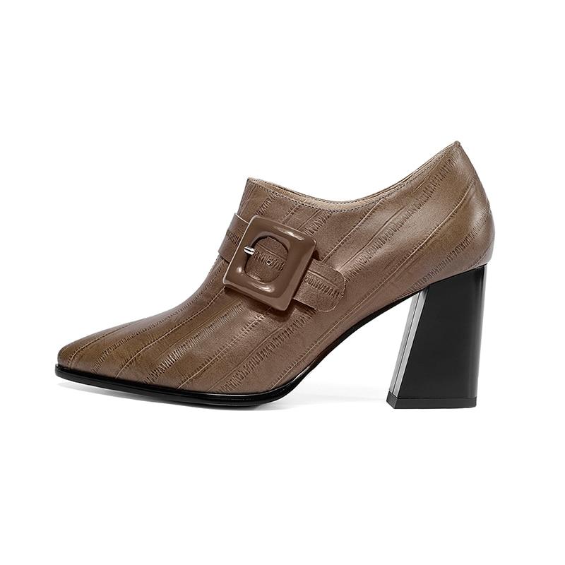 Isnom 2019 봄 여성 펌프 지적 발가락 크로스 묶인 신발 엠 보스 정품 가죽 레이디 신발 패션 하이힐 신발 여성-에서여성용 펌프부터 신발 의  그룹 2