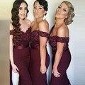 Borgonha 2017 Baratos Da Dama de Honra Vestidos Under 50 Sereia Querida Mangas Frisado Longo Vestidos de Festa de Casamento