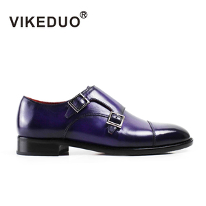 Vikeduo 2019 Fashion Designer Vintage Handmade Women Monk Shoes High Grade Party Dress 100% Genuine Leather Double Buckle Shoes