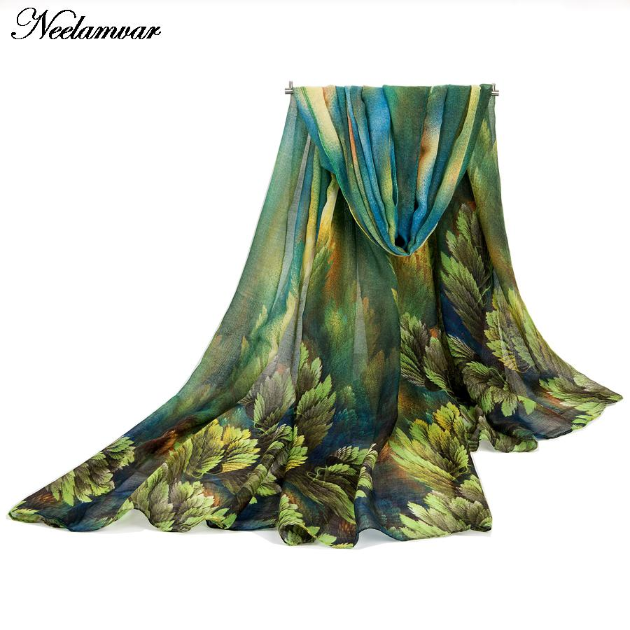 Neelamvar Autumn and Spring scarf women fashion long echarpe leaves printed scarves ladies stoles warm shawls hijab for women