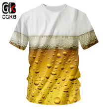 OGKB Summer Tops Unisex Hiphop Fitness Casual Tee Shirts Women/men's Print Fresh Beer 3D T-shirt O Neck Tee Shirts Plus Size 7XL(China)
