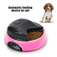 4 Meals Automatic Pet Feeder Food Trays Bowl Dispenser Setting Fixed Time Non toxic Container Recording Reminders Pet Supplies