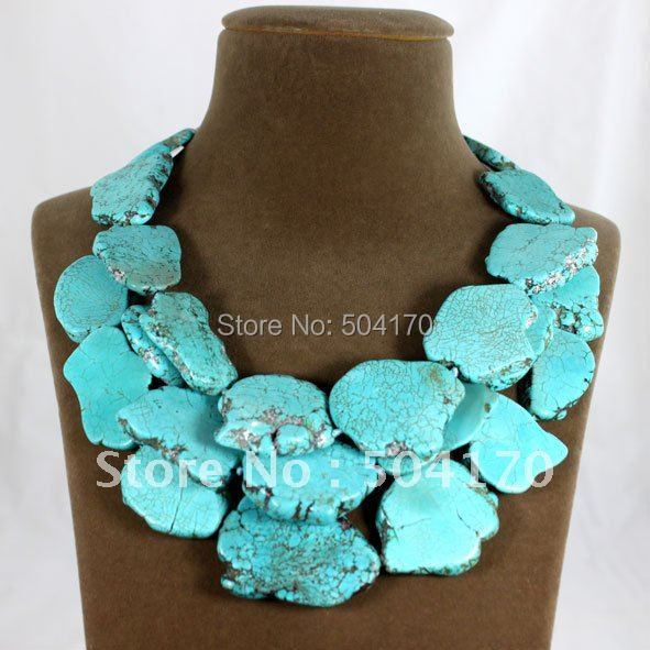 Turquoise Blue Multi Layered Strand Bead Chunky Necklace Earrings Set Silver