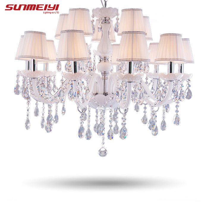 Modern LED White Crystal Chandelier Lights Lamp For Living Room Light Ceiling Fixture Indoor Pendant Lamp Home Decorative modern k9 crystal led ceiling pendant lamp 2 head cool white chandelier lights size 45 21 9cm