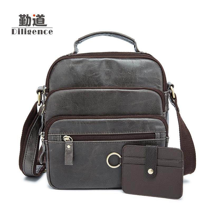 Men's Genuine Leather Handbags Vintage Fashion Bolsa Feminina Clutch Shoulder Bags Casual Totes 2017 New Style Messenger Bag