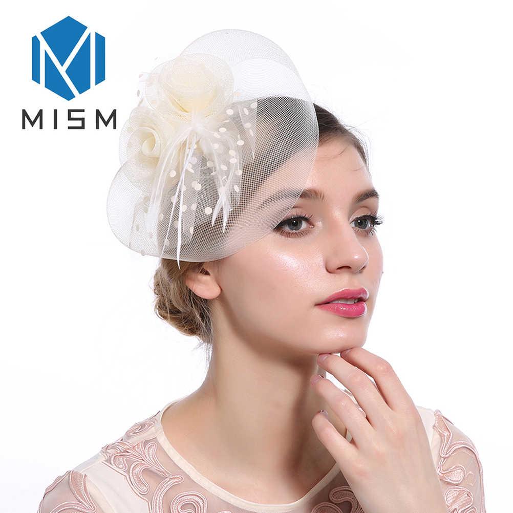 M Mism Nữ Cưới Fascinator Nón Tóc Lưới Áo Voan Chấm Lông Tóc Vòng Phụ Kiện Retro Sang Trọng Cá Sấu Mũ Đợi Đầu Đa Năng